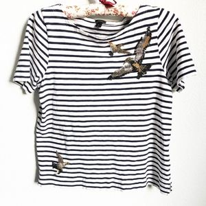 J Crew Striped Top with Beaded Sequin Birds Size S